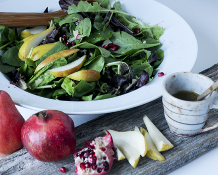 Fruit Salad Recipe - Pear Pomegranate and Mixed Greens